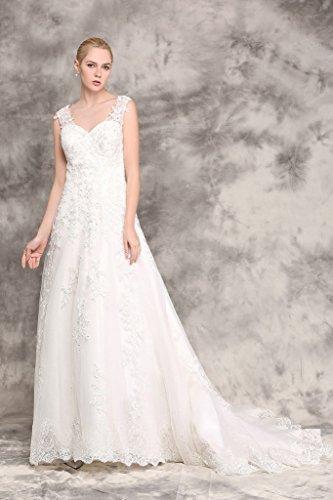Brautkleid mit Rückenansicht und Schleppe Ivory - 7