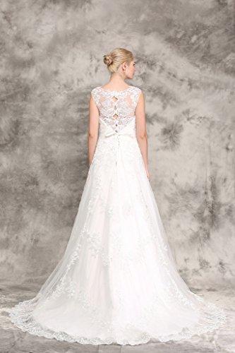 Brautkleid mit Rückenansicht und Schleppe Ivory - 6