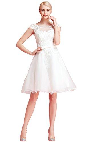 Brautkleid Knielang Weiß mit Stickereien