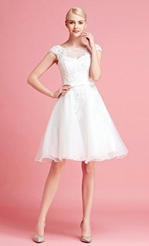 Brautkleid Knielang Weiß mit Stickereien - 2