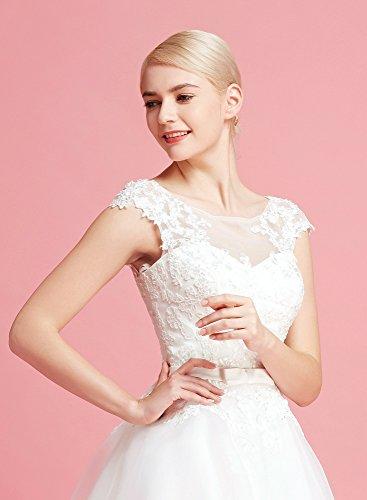 Brautkleid Knielang Weiß mit Stickereien - 5