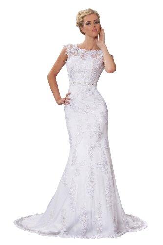 Vintage Meerjungfrau Brautkleid Hochzeitskleid Weiß