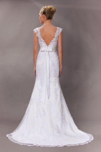 Vintage Meerjungfrau Brautkleid Hochzeitskleid Weiß - 2