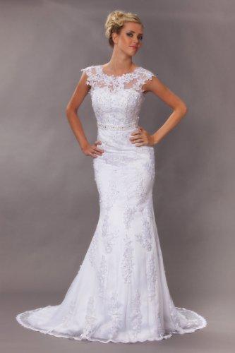 Vintage Meerjungfrau Brautkleid Hochzeitskleid Weiß - 7