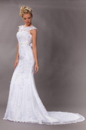 Vintage Meerjungfrau Brautkleid Hochzeitskleid Weiß - 8