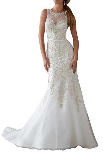 Luxurioes Brautkleid Rundkragen Spitze und Tüll in Weiß
