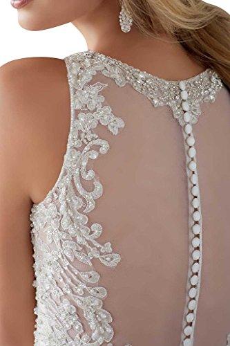 Luxurioes Brautkleid Rundkragen Spitze und Tüll in Weiß - 4