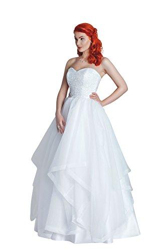 Brautkleid am oberen Bereich mit Spitze, Stoffteil und Schnürrung (weiß)