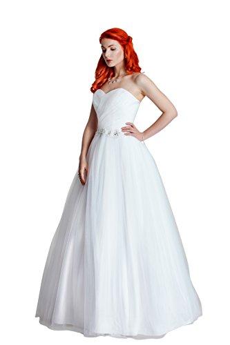 1-Teiliges Brautkleid aus Satin mit feinstem Tüll und einem Spitzengürtel (ivory/creme oder weiß)