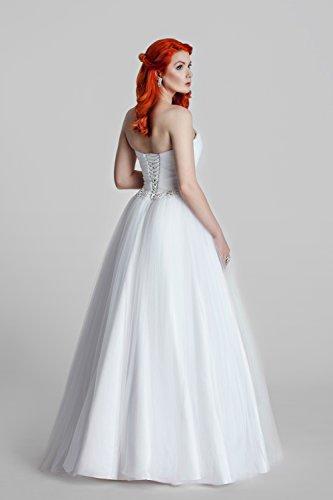 1-Teiliges Brautkleid aus Satin mit feinstem Tüll und einem Spitzengürtel (ivory/creme oder weiß) - 2