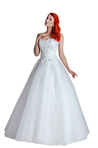 1-Teiliges Brautkleid aus Satin mit feinster Spitze veredelt (weiß)
