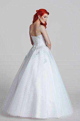 1-Teiliges Brautkleid aus Satin mit feinster Spitze veredelt (weiß) - 2