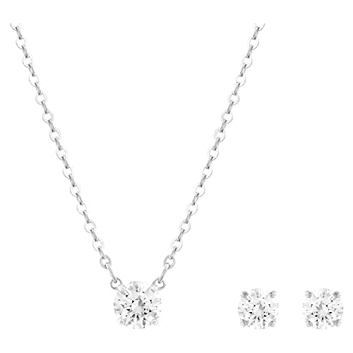 Swarovski Attract Round Set, weiss, rhodiniert