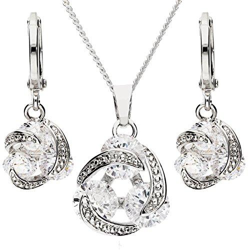 MYA art Damen Kette Ohrringe Set 925 Silber Infinity Anhänger mit Zirkonia Strass Stein Halskette Collier Creolen Hängend Schmuckset MYASIKET-82