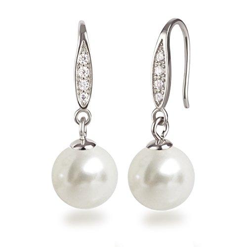 Schöner SD, Schmuckset Perlen weiß Anhänger, Kette und Ohrhänger besetzt mit Zirkonia, 925 Silber Rhodium - 2