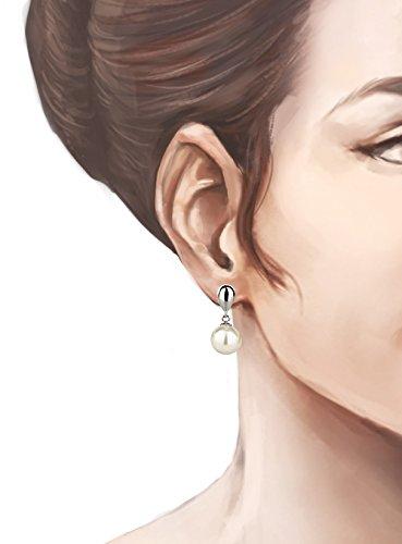 Schöner SD, Glänzendes Schmuckset mit 10mm Perlen Ohrringe und Halskette mit Anhänger, 925 Silber Rhodium Farbe weiß - 3