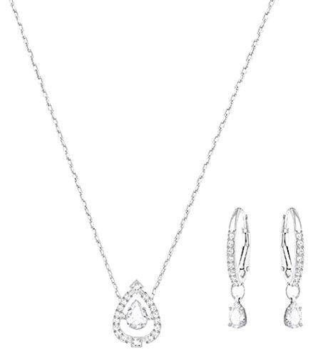 Swarovski Damen-Schmuckset Halskette + Ohrringe rhodiniert Kristall Weiß - 5272368