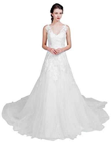 Brautkleid mit A-Linie-Silhouette und V-Ausschnitt