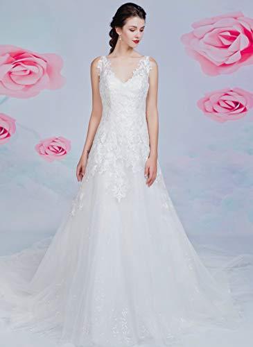 Brautkleid mit A-Linie-Silhouette und V-Ausschnitt - 3