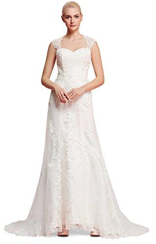 Brautkleid mit herzförmigen Ausschnitt und Träger aus transparentem Stoff und Spitze