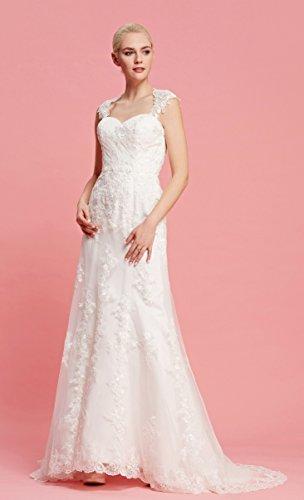 Brautkleid mit herzförmigen Ausschnitt und Träger aus transparentem Stoff und Spitze - 4