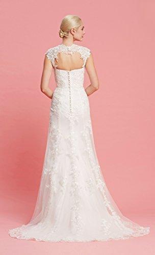 Brautkleid mit herzförmigen Ausschnitt und Träger aus transparentem Stoff und Spitze - 8