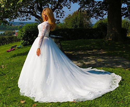 Luxus Brautkleid Hochzeitskleid // Spitze mit Ärmel Prinzessin Brautkleid - 2