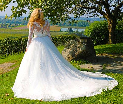 Luxus Brautkleid Hochzeitskleid // Spitze mit Ärmel Prinzessin Brautkleid - 8