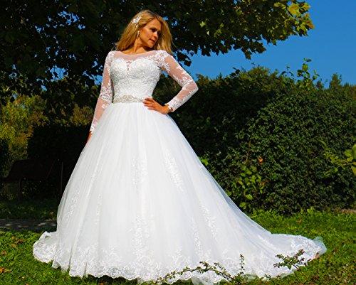 Luxus Brautkleid Hochzeitskleid // Spitze mit Ärmel Prinzessin Brautkleid - 7