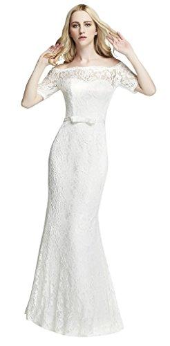Brautkleid mit Spitze / U-Boot Ausschnitt , Ivory