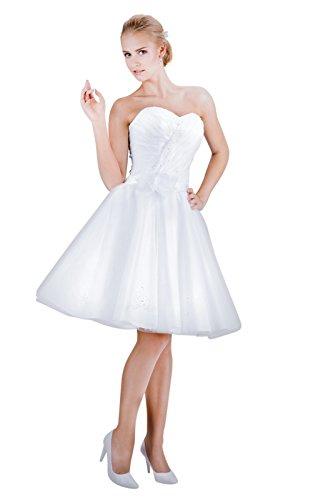 MGT-Shop Damen Brautkleid Brautkleider Hochzeitskleid Hochzeitskleider Hochzeitsmode Abendkleid Bridesmade Mini kurz (46, weiß)