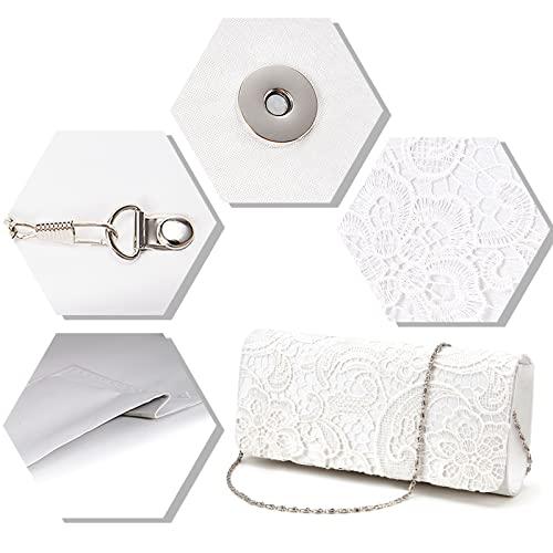 Luxus Spitze Damen Clutch Abendtasche Damentasche Handtasche Brauttasche mit Kette (weiss) - 3