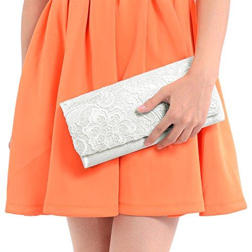 Luxus Spitze Damen Clutch Abendtasche Damentasche Handtasche Brauttasche mit Kette (weiss) - 5