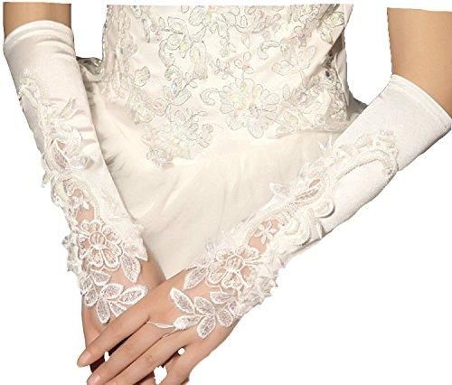 Brauthandschuhe fingerlos Braut Handschuhe Perlen Pailletten Hochzeit Weiß Ivory Stulpen Brautstulpen Hochzeitsstulpen (Ivory)