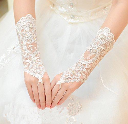 Brauthandschuhe Spitzenhandschuhe Hochzeit Braut Hochzeitshandschuhe Brautkleid Spitze Fingerlose Handschuhe mit Spitze Blumen für Hochzeitsfest ( Farbe : Weiß ) - 4