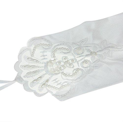 Liying Neu Damen Lange Hochzeithandschuhe Brauthandschuhe Fingerlose Spitze Handschuhe Hochzeit Abend Party Satin sexy Spitzenhandschuhe, Weiß, Einheitsgröße - 3