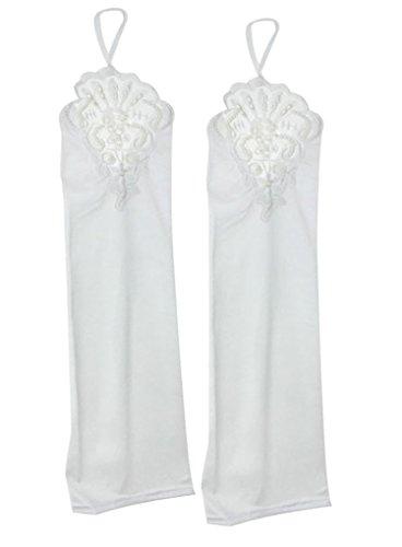 Liying Neu Damen Lange Hochzeithandschuhe Brauthandschuhe Fingerlose Spitze Handschuhe Hochzeit Abend Party Satin sexy Spitzenhandschuhe, Weiß, Einheitsgröße - 6