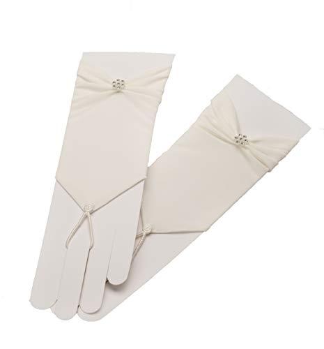 Zauberkutsche Brauthandschuhe fingerlos Braut Handschuhe Perlen Hochzeit Weiß Ivory Satin Stulpen (Ivory)