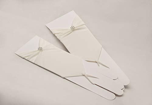 Zauberkutsche Brauthandschuhe fingerlos Braut Handschuhe Perlen Hochzeit Weiß Ivory Satin Stulpen (Ivory) - 3