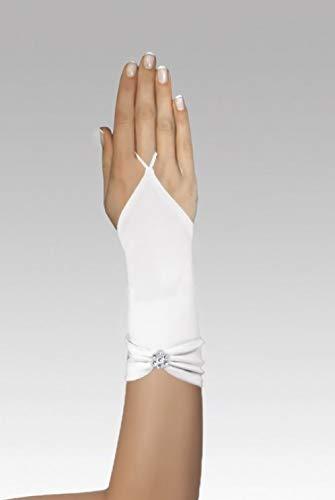Zauberkutsche Brauthandschuhe fingerlos Braut Handschuhe Perlen Hochzeit Weiß Ivory Satin Stulpen (Ivory) - 4
