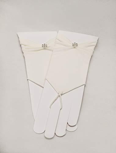 Zauberkutsche Brauthandschuhe fingerlos Braut Handschuhe Perlen Hochzeit Weiß Ivory Satin Stulpen (Ivory) - 7