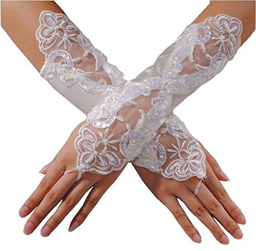 EROSPA® Handstulpen mit Stickerei und Perlen weiß Hochzeit Braut Handschuhe Fingerlos