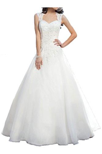 Milano Bride Vintage Damen Aermellos Herzform Hochzeitskleider Brautkleider Brautmode Damen mit Spitze Schleppe-40-Elfenbein
