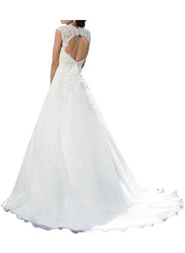 Milano Bride Vintage Damen Aermellos Herzform Hochzeitskleider Brautkleider Brautmode Damen mit Spitze Schleppe-40-Elfenbein - 2