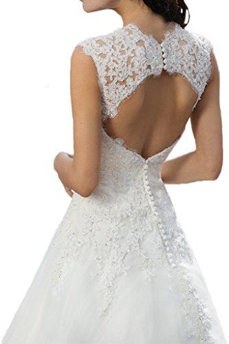 Milano Bride Vintage Damen Aermellos Herzform Hochzeitskleider Brautkleider Brautmode Damen mit Spitze Schleppe-40-Elfenbein - 4