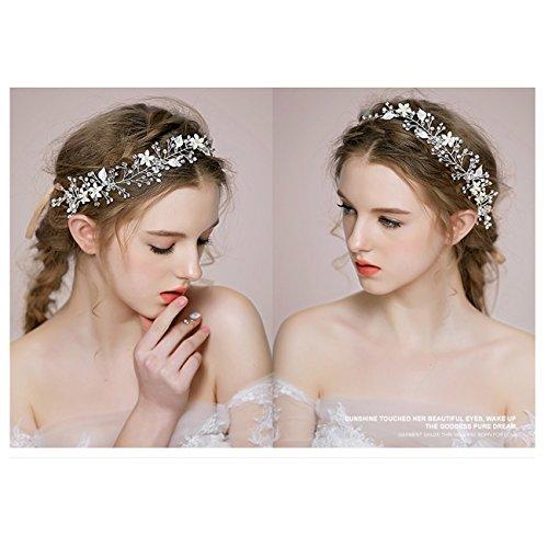Brautschmuck Vintage Kristall Pearl Vine Haarbänder Hochzeit Haar Zubehör Silber -