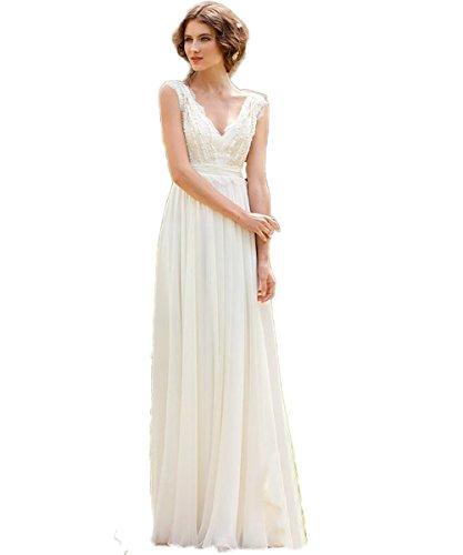 CoCogirls Braut Chiffon V-Ausschnitt Cap Sleeve Kleid Bohemien Strand Hochzeitskleider Brautkleider Abendkleid (36, Elfenbein)
