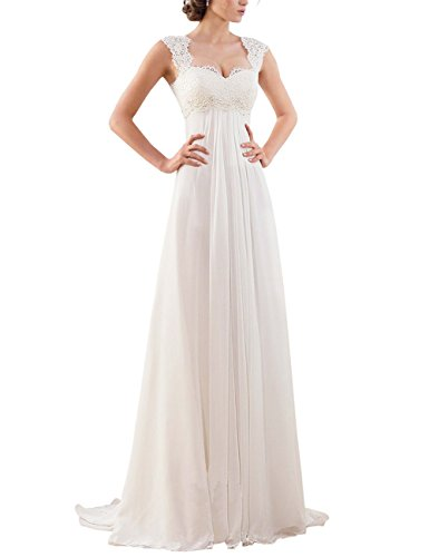 Erosebridal Armellos Spitze Chiffon Hochzeitskleid Brautkleid