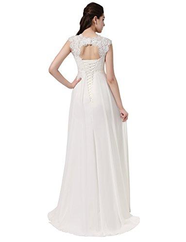 Erosebridal Ärmellos Spitze Chiffon Hochzeitskleid Brautkleid Elfenbein DE36 - 7