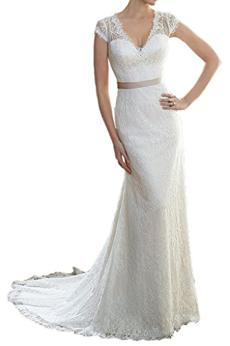 Milano Bride Elegant Etui-Linie Kurzarm V-Ausschnitt Hochzeitskleider Brautkleider Brautmode Spitzenkleider mit Schleifband Schleppe-38-Elfenbein